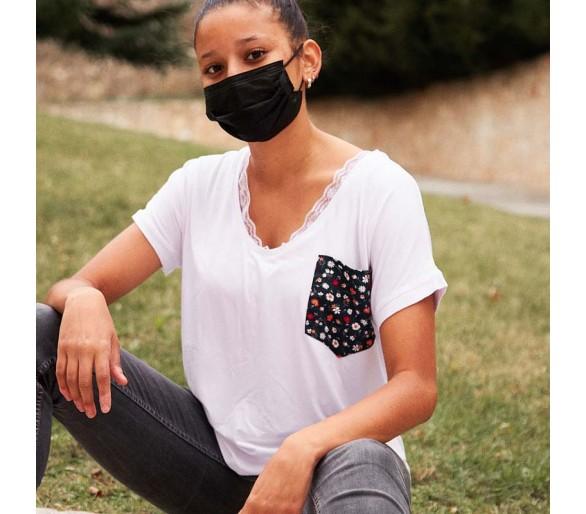 Camiseta DREAM cuello pico Personalizada con Encaje y Bolsillo